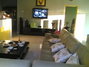 Hometheatre mounted plasma screen guest lounge